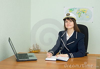 Woman in blue uniform sailor