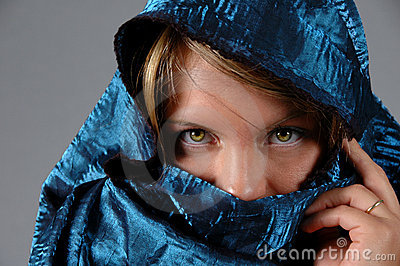 Woman and blue veil
