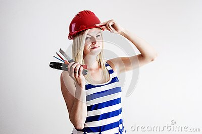 Woman In Blue And White Tank Top Wearing Red Hard Hat Free Public Domain Cc0 Image