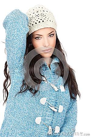 Woman in a blue wool sweater