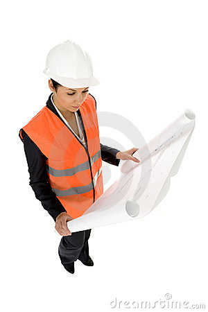 Woman with Blueprints