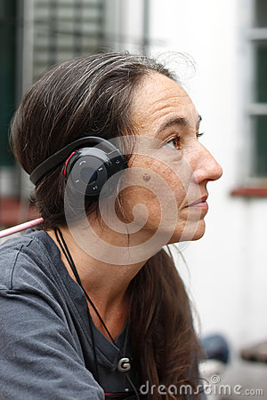Woman with a Bluetooth Headset