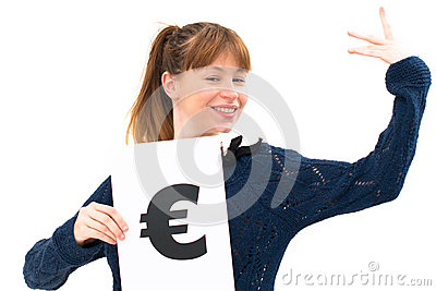 Woman with board euro mark