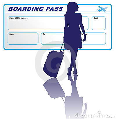 Woman and boarding pass