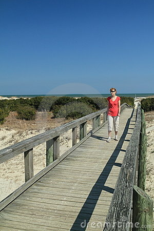 Woman on Boardwalk - Cumberland Island, Georgia