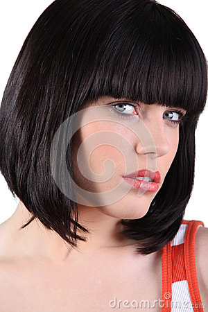 Woman with a bobbed hairstyle