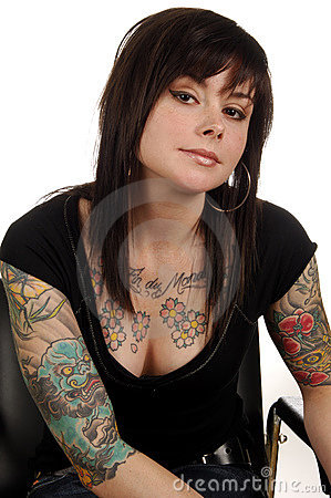 Woman With Body Art Tattoos