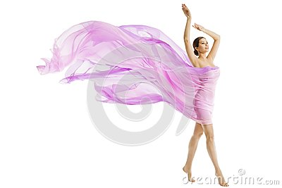 Woman Body Beauty, Model Dressed in Silk Pink Flying Fabric Stock Photo