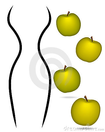 Woman body lines with apples concept.