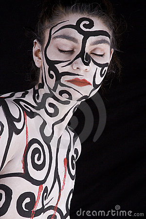 Woman with body painted