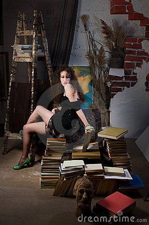 Woman and books