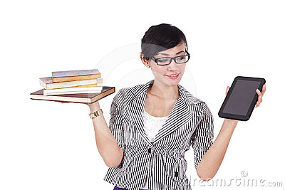 Woman with books and iPad