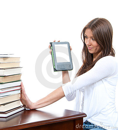 Woman books and new wireless reading digital ebook