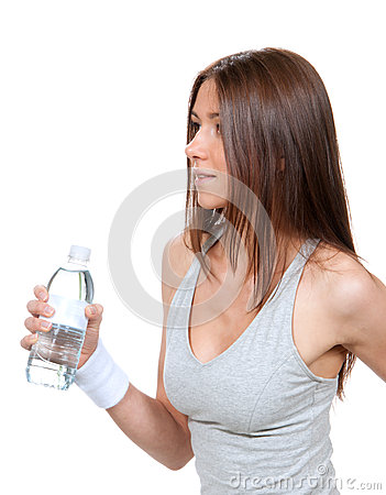Woman with bottle of drinking water