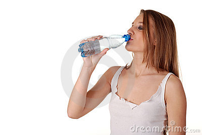 Woman and bottle of water