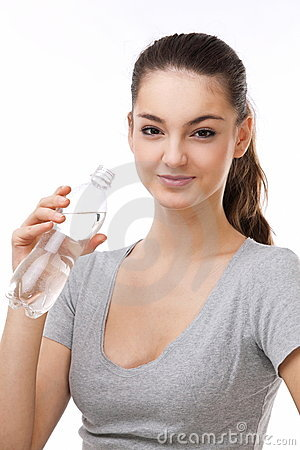 Woman with a bottle of water.