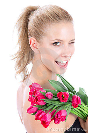 Woman  bouquet of red tulips flowers wink