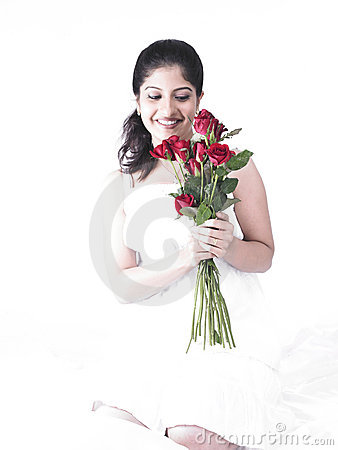Woman with a bouquet of roses
