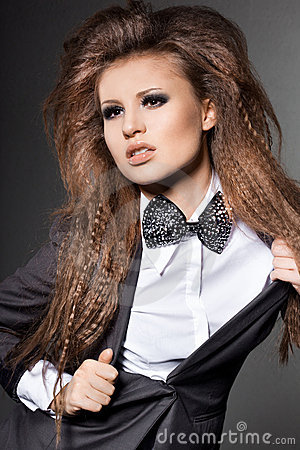 Woman with bow-tie