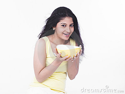 Woman with a bowl of soup