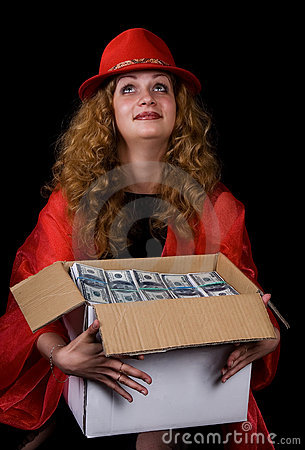 The woman and a box of money