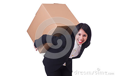 Woman with box
