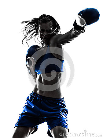Free Woman Boxer Boxing Kickboxing Silhouette Isolated Royalty Free Stock Photos - 48012578
