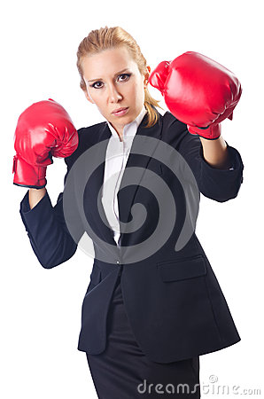 Woman boxer isolated