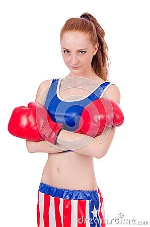 Woman boxer in uniform