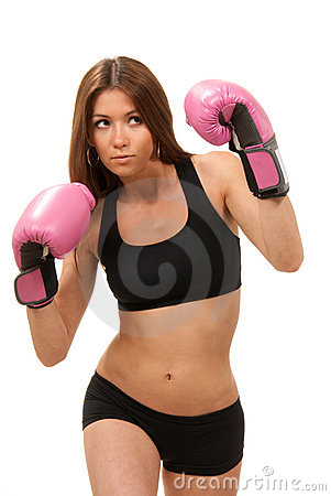 Free Woman Boxing In Pink Gloves Royalty Free Stock Images - 19270539