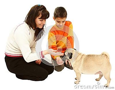 Woman boy and dog