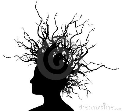 Woman with branches hair.