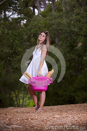 Woman with bread in the basket
