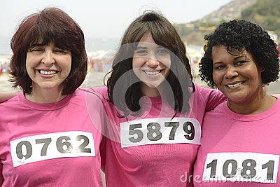 Woman on breast cancer awareness race