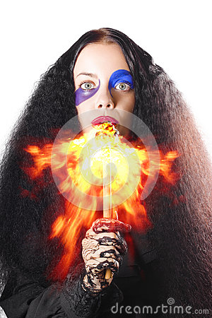 Woman breathing fire from mouth