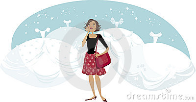 Woman and bridal dresses