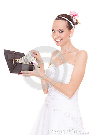 Free Woman Bride With One Dollar. Wedding Expenses. Royalty Free Stock Image - 66008136