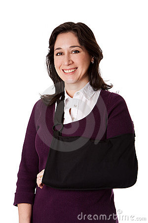 Woman with broken arm in sling