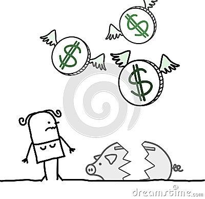 Woman and broken piggy bank