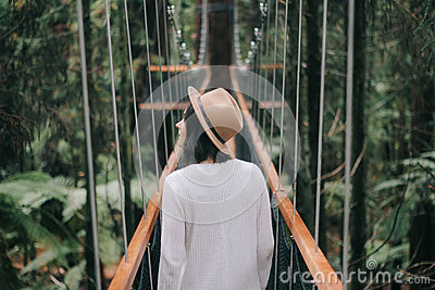 Woman In Brown Hat And White Sweater Walking In A Bridge Free Public Domain Cc0 Image