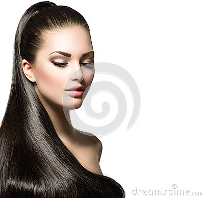 Woman with brown smooth hair
