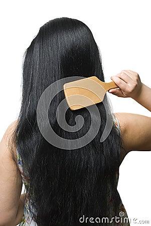 No Credit Check Credit Cards >> Woman Brushing Her Black Long Hair Stock Image - Image ...