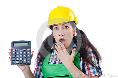 Woman builder with calculator