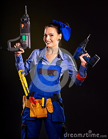 Free Woman Builder With Construction Tools. Stock Image - 35354021