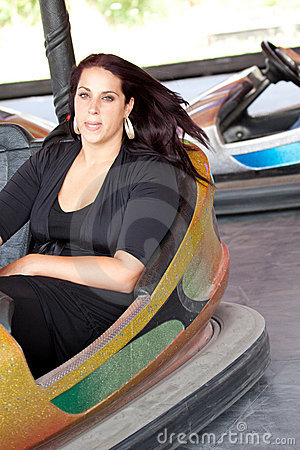 Woman in bumper car