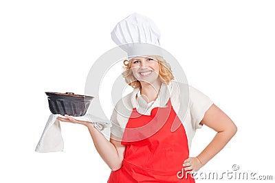 Woman with bundt cake
