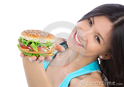 Woman with burger sandwich