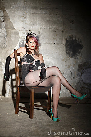 Woman in burlesque outfit