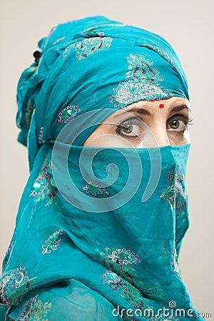 Woman in burqa with Tilaka