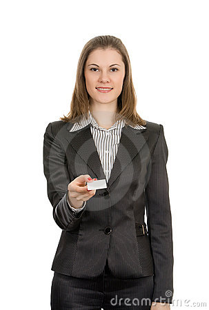 Woman with a business card. Isolated on white